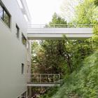 Нижний мостик ведет к лестнице ведущей вниз. (архитектура,дизайн,экстерьер,интерьер,дизайн интерьера,1950-70е,середина 20-го века,вход,прихожая,фасад)