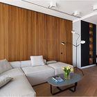 Светлая мягкая мебель и деревянная стена призваны смягчить холодный интерьер гостиной.