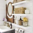 Светильники в стиле лофт отлично подходят к современной ванной комнате.