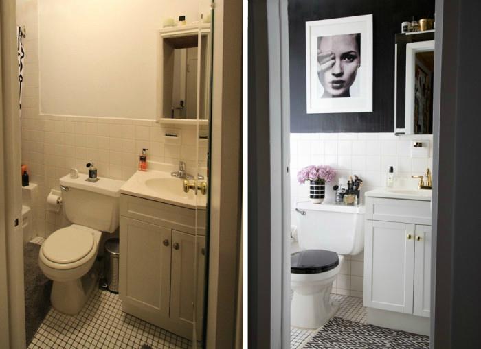 Яркий пример того как можно изменить ванную комнату не внося радикальных изменений и не делая ремонт