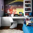 Яркая и современная детская комната для увлеченного футболом подростка. (индустриальный,лофт,винтаж,стиль лофт,индустриальный стиль,архитектура,дизайн,экстерьер,интерьер,дизайн интерьера,мебель,детская,игровая,детская комната,детская спальня,дизайн детской,интерьер детской,современный)