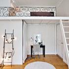 Спальня на антресоли и кабинет (спальня,домашний офис,офис,мастерская,лестница,эклектика,архитектура,дизайн,интерьер,экстерьер,мебель)