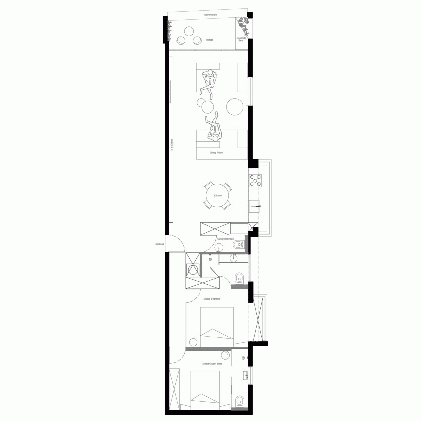 План узкой квартиры