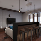Барная стойка служит обеденным столом. Перед ней очень удачно расположен телевизор. (индустриальный,лофт,винтаж,стиль лофт,индустриальный стиль,квартиры,апартаменты,интерьер,дизайн интерьера,мебель,кухня,дизайн кухни,интерьер кухни,кухонная мебель,мебель для кухни,столовая,дизайн столовой,интерьер столовой,мебель для столовой,гостиная,дизайн гостиной,интерьер гостиной,мебель для гостиной)
