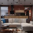 Кухня, столовая и гостиная объединены в общее жилое пространство, что характерно для маленькой квартиры.