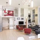 Просторная гостиная с высокими в 3,8 метра потолками. (индустриальный,лофт,винтаж,стиль лофт,индустриальный стиль,интерьер,дизайн интерьера,мебель,архитектура,дизайн,экстерьер,квартиры,апартаменты,гостиная,дизайн гостиной,интерьер гостиной,мебель для гостиной)