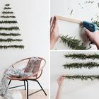 Эта альтернативная елка понравится сторонникам минимализма. Зеленая хвоя, лучше искусственная, закрепленная на стене в форме дерева. (новый год,рождество,елка,подарки,декор,елочные игрушки,хвоя,гирлянды,конфети,сделай сам,самоделки,скандинавский)