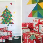 Такая рождественская елка из нарисованных геометрических фигур может подойти к самому необычному интерьеру. Плюс ко всему она не занимает места в комнате. (новый год,рождество,елка,подарки,декор,елочные игрушки,хвоя,гирлянды,конфети,сделай сам,самоделки,скандинавский)