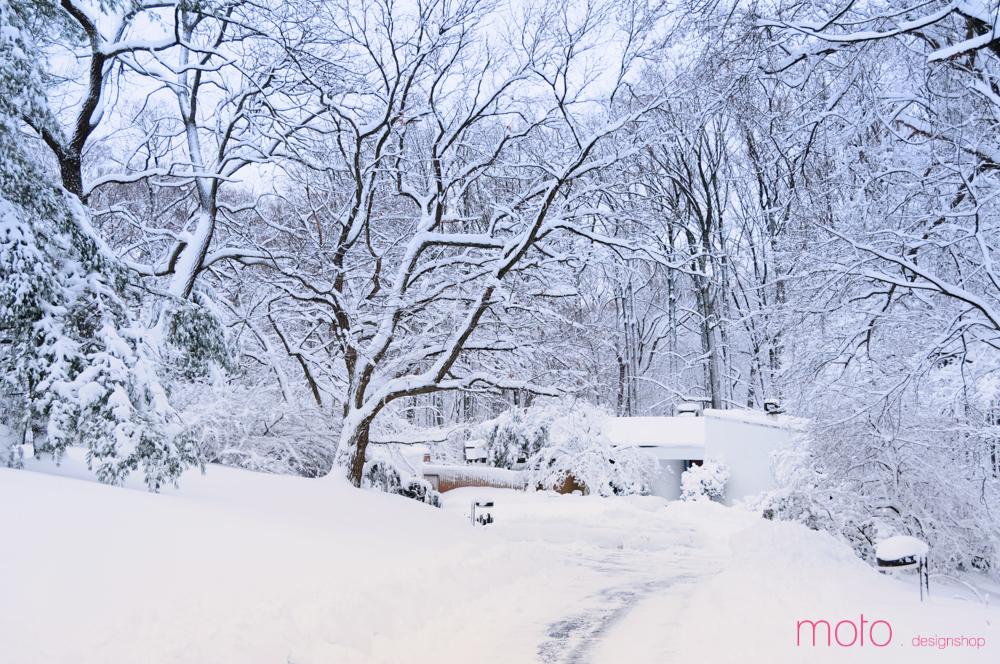 Зимой белый фасад дома буквально сливается с окружающей природой.