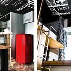 Черный потолок покрашен специальной краской и на нем можно рисовать все что угодно. (спальня,дизайн спальни,интерьер спальни,домашний офис,офис,мастерская,квартиры,апартаменты,мебель,интерьер,дизайн интерьера,современный,минимализм)