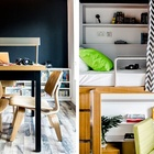 Спальные места приподняты, а под ними расположены рабочие столы и шкафы. (спальня,дизайн спальни,интерьер спальни,домашний офис,офис,мастерская,квартиры,апартаменты,мебель,интерьер,дизайн интерьера,современный,минимализм)
