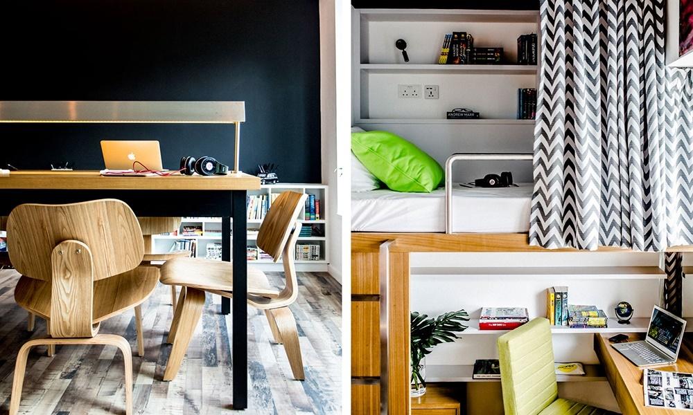 Спальные места приподняты, а под ними расположены рабочие столы и шкафы.