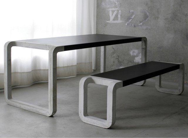 Обеденный стол и скамья из бетона для современного интерьера.