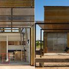 Поднимаемая прозрачная перегородка между кухней и террасой может служить крышей защищающей от дождя.