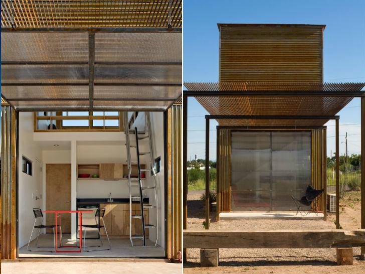 Поднимаемая прозрачная перегородка между кухней и террасой может служить крышей защищающей от дождя