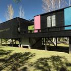 На этой фотографии хорошо видно разноцветные сдвижные двери в спальни. (современный дом,пляжный дом,архитектура,дизайн,экстерьер,интерьер,дизайн интерьера,мебель)