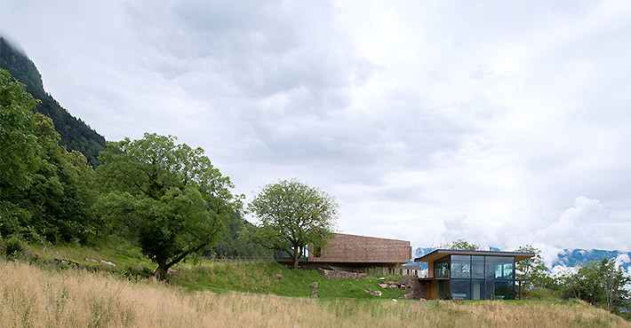 Передний фасад дома с дальнего расстояния.