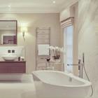 Роскошная ванная комната с римской шторой. (ванна,санузел,душ,туалет,дизайн ванной,интерьер ванной,сантехника,кафель,интерьер,дизайн интерьера)