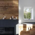 Дизайн гостинной - состареный дуб, деревянные шкафчики вдоль стены, камин (гостинная,хранение,гардероб,шкаф,мебель,архитектура,дизайн,интерьер,экстерьер,современный,жилая комната)