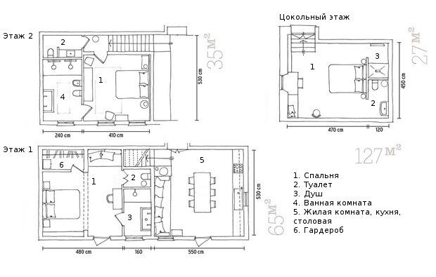 Поэтажные планы дома.