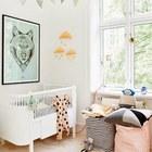 Красивые мешки для игрушек будут значительно практичнее и удобнее ящиков и шкафов, когда игрушки прийдется собирать (спальня,дизайн спальни,интерьер спальни,скандинавский,скандинавский интерьер,скандинавский стиль,интерьер,дизайн интерьера,мебель)