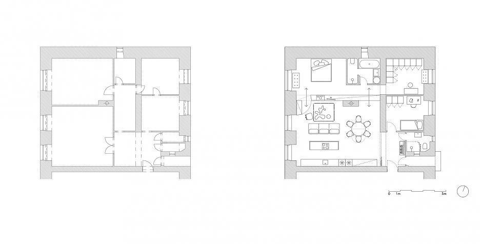 Планировка квартиры до и после ремонта.