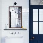 Бетонная полочка под зеркалом в раме из красного дерева и объемный умывальник. (индустриальный,лофт,винтаж,стиль лофт,индустриальный стиль,интерьер,дизайн интерьера,мебель,архитектура,дизайн,экстерьер,квартиры,апартаменты,ванна,санузел,душ,туалет,дизайн ванной,интерьер ванной,сантехника,кафель,керамика,фото ванной,идеи ванной)