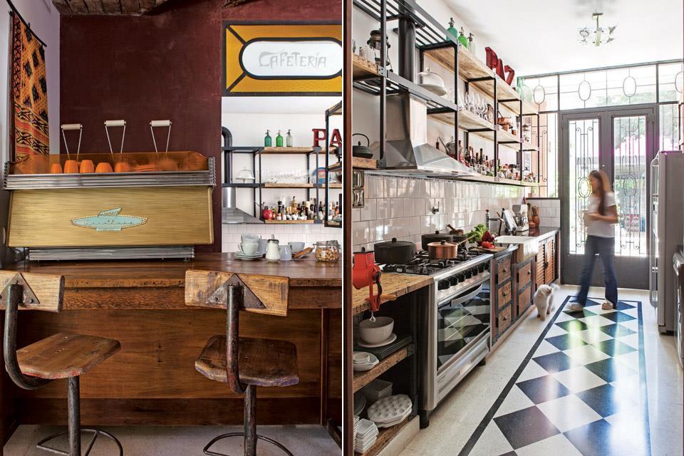 Барная стойка добавляет приятной атмосферы кафетерия. Этому способствует и отреставрированная винтажная итальянская кофеварка.