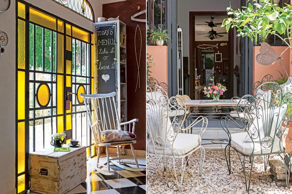 Железные ворота имитируют оригинальный дом, а желтое стекло оживляет интерьер.