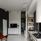 Дизайн жилой комнаты совмещенной с кухней. Телевизор удобно разместился в противоположной от дивана и окна стороне.