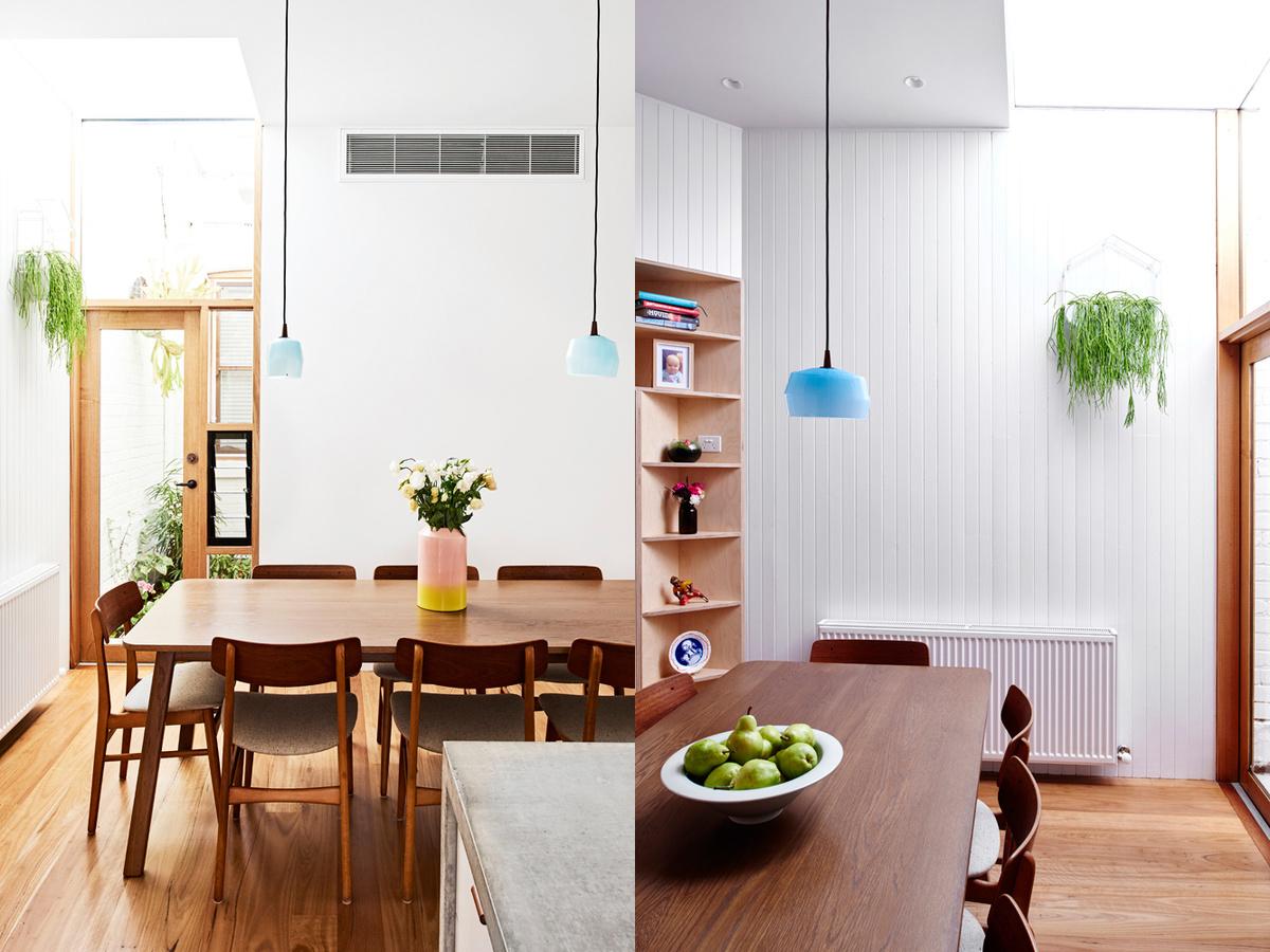 Столовая выделена голубыми светильниками, а также теплыми деревянными текстурами