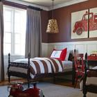 Детская комната для двух мальчиков увлеченных пожарными машинами.