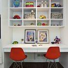 Рабочий стол для двоих детей школьников с отличными красными пластиковыми стульями Имз.