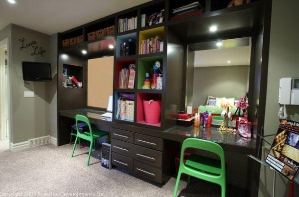 Два стола - идеальное решение для детской девочки подростка. Один стол для уроков - второй для косметики.