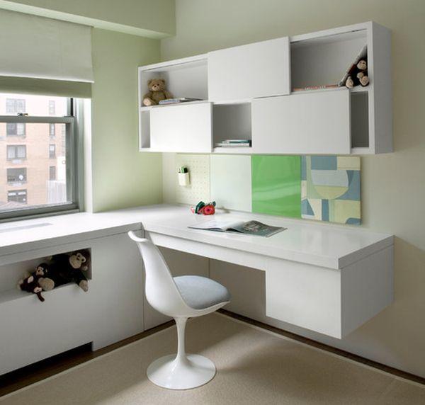 Минималистский белый угловой рабочий стол для школьника с удобным стулом Тюлип финского дизайнера Ээро Сааринена