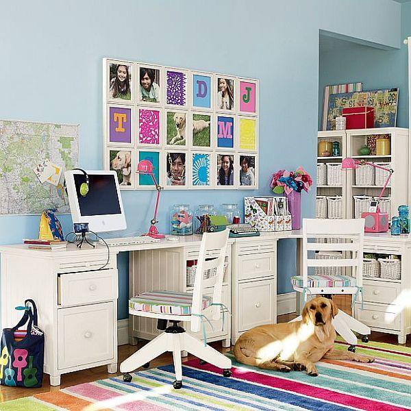 Традиционная жизнерадостная детская с большим угловым письменным столом для двух девочек подростков.