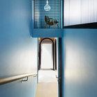 Лестница со двора ведет в гостиную на втором этаже. Скругленные стеклянные двери дополняют круглые окна.