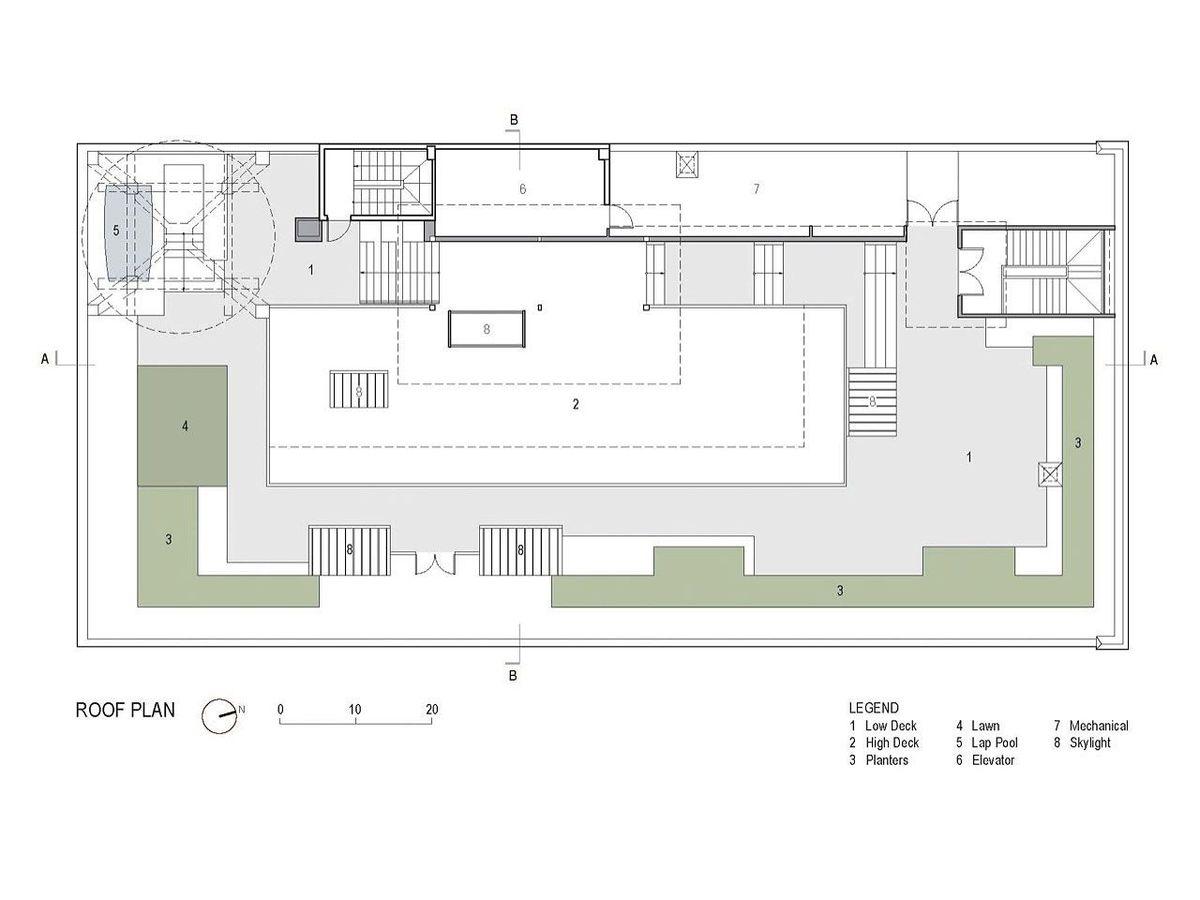 План крыши здания.