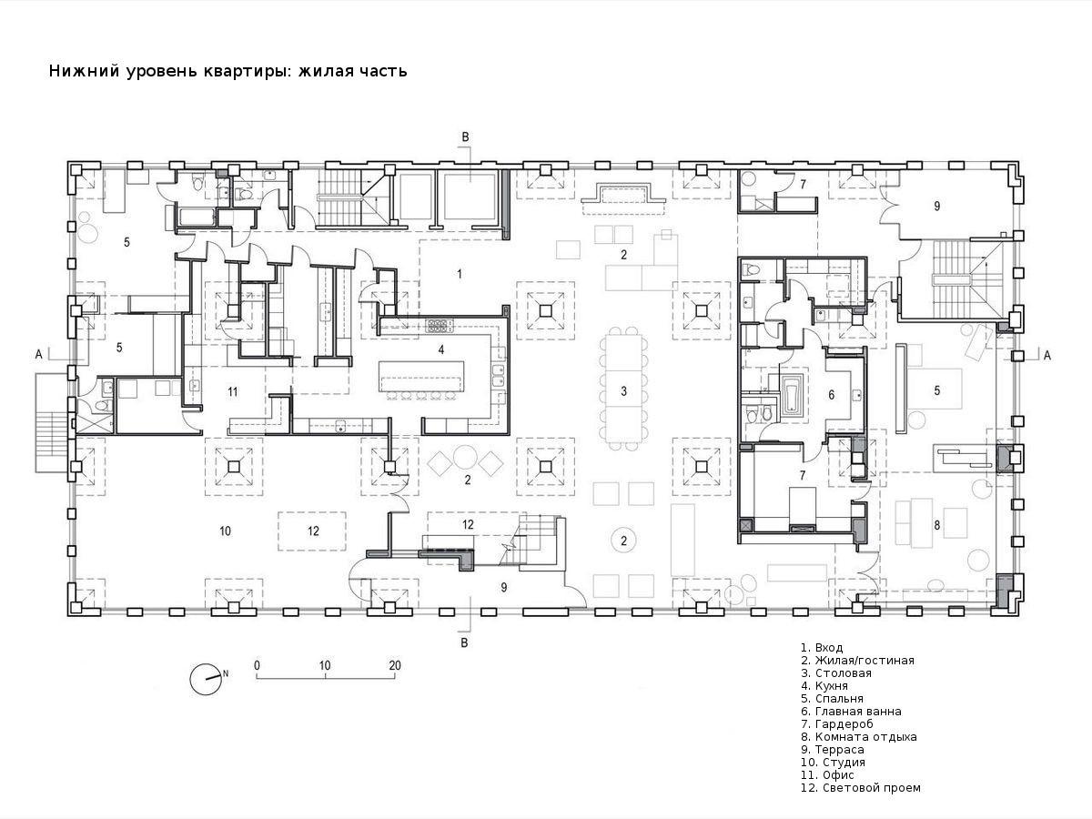План нижнего этажа квартиры-лофта