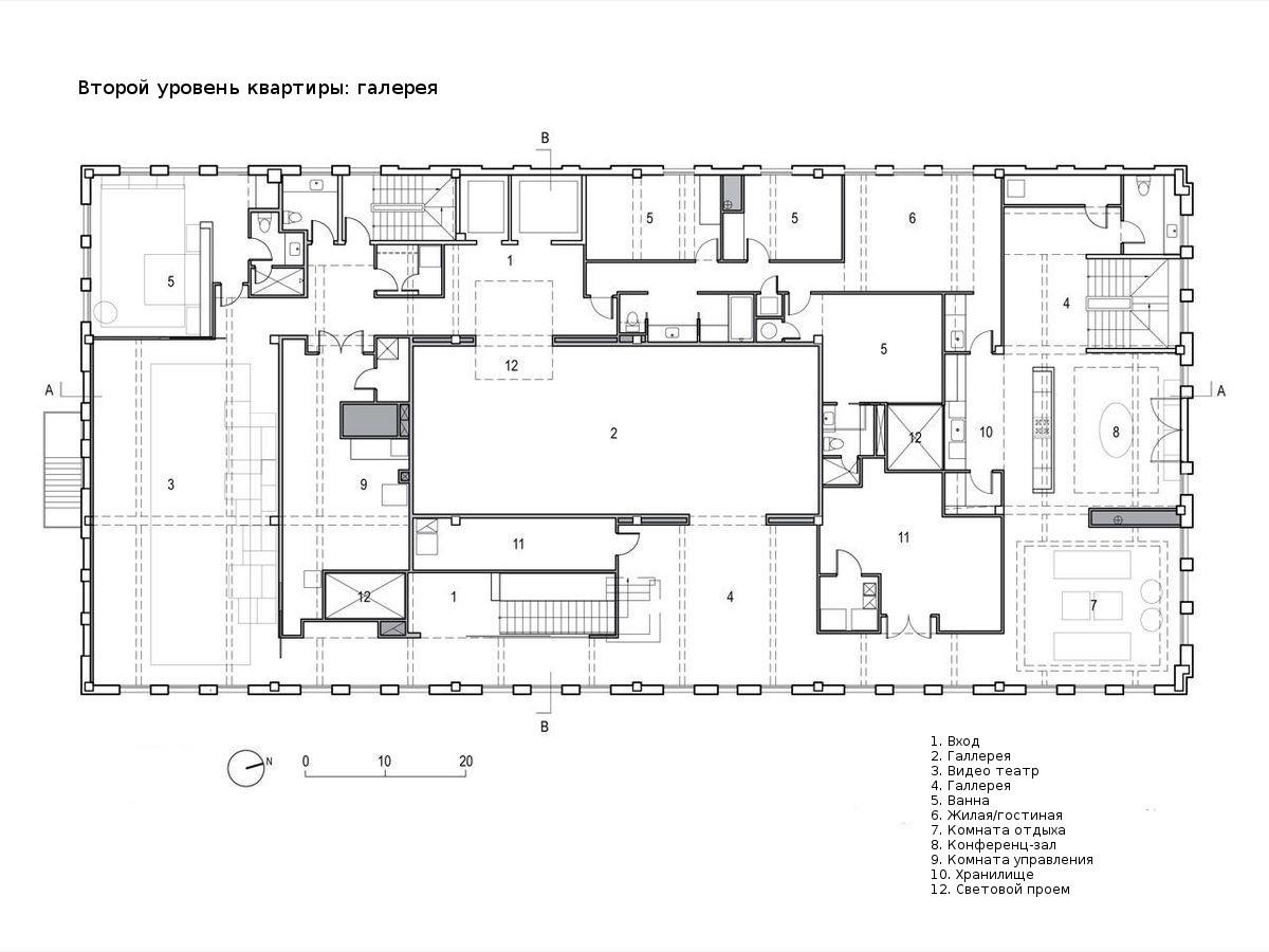 План верхнего этажа квартиры под крышей. Этаж занят галереей.