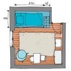 Эскиз планировки детской с кроватью на антресоли.
