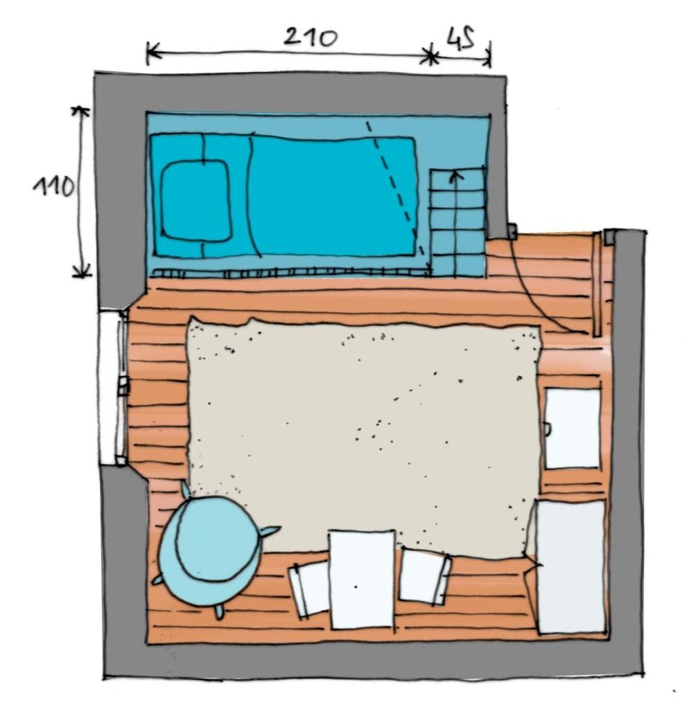 Эскиз планировки детской с кроватью на антресоли
