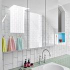 Зеркальный шкафчик в ванной скрывает все принадлежности придавая ванной минималистской аккуратности. В Зеркале отражаются блики света из световых окон в потолке душевой.