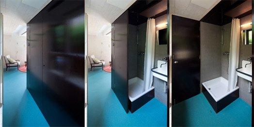Благодаря меняющим свое положение дверям-перегородкам душевой и влагостойкому полу по всему первому этажу может быстро превратиться в просторную ванную комнату.