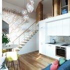 Стена рядом с лестницей украшена рисунком дерева. Цвет рисунка гармонирует с цветом натуральной древесины из которой выполнена лестница, а также стены и дверцы спальни на антресоли. (современный,минимализм,интерьер,дизайн интерьера,мебель,маленький дом,квартиры,апартаменты,кухня,дизайн кухни,интерьер кухни,кухонная мебель,мебель для кухни,фото кухни,спальня,дизайн спальни,интерьер спальни,фото спальни,мебель для спальни,кровать,гостиная,дизайн гостиной,интерьер гостиной,мебель для гостиной,фото гостиной,идеи гостиной,лестница,варианты лестницы,фото лестницы,идеи лестницы)