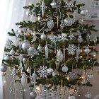 Небольшая елка в белой корзинке украшенная серебристыми шарами, сосульками и снежинками.