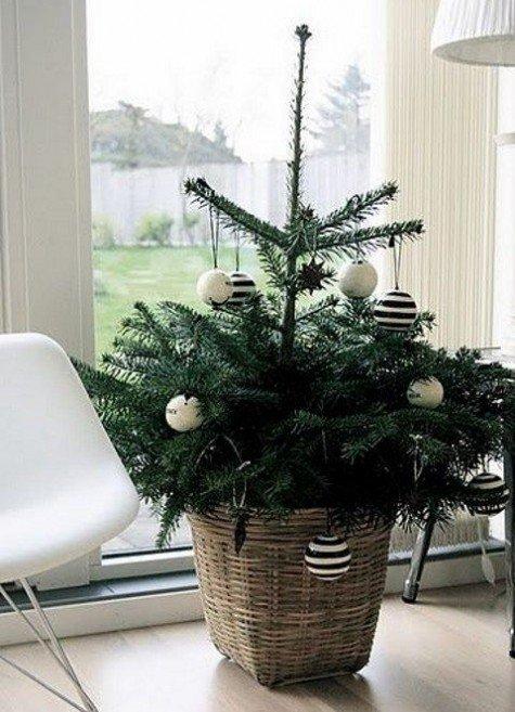 Елка в скандинавском стиле украшенная белыми и черно-белыми полосатыми шарами.