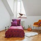 Вторая спальня по размерам чуть меньше главной. (современный,квартиры,апартаменты,интерьер,дизайн интерьера,мебель,мансарда,мансардная квартира,квартира в мансарде)