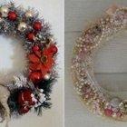 Серебристый рождественский венок с красным декором и милый венок в стиле шебби шик.