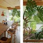 Столовая с небольшим зимним садом с южной стороны дома. (архитектура,дизайн,экстерьер,интерьер,дизайн интерьера,мебель,1950-70е,середина 20-го века,медисенчери,медисенчери модерн,модерн,средневекоый модерн,модернизм,mcm,столовая,дизайн столовой,интерьер столовой,мебель для столовой,фото столовой,идеи столовой)